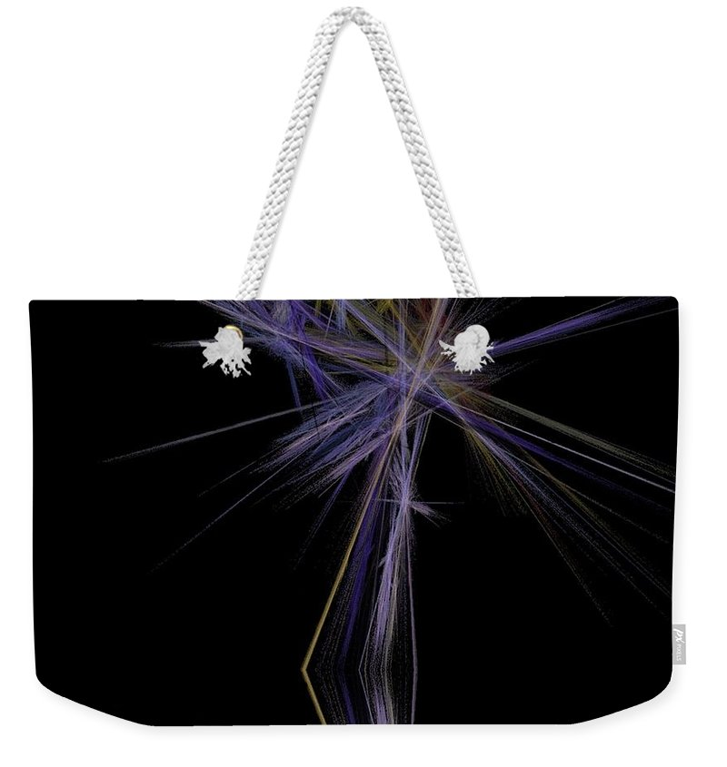 Palm Tree Weekender Tote Bag featuring the digital art Rainbow Palm by Sara Raber