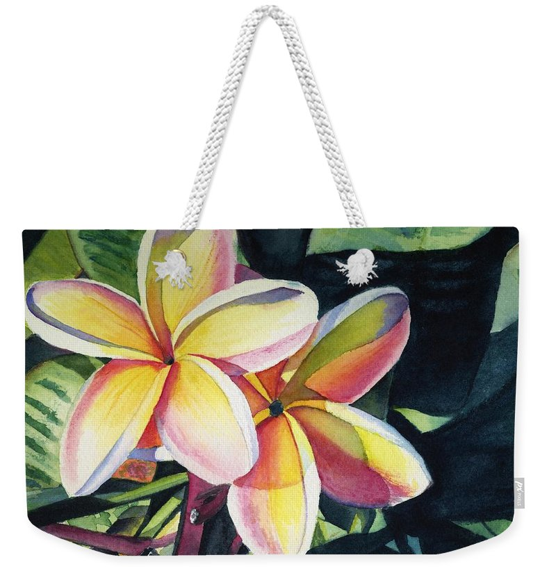 Rainbow Weekender Tote Bag featuring the painting Rainbow Plumeria by Marionette Taboniar