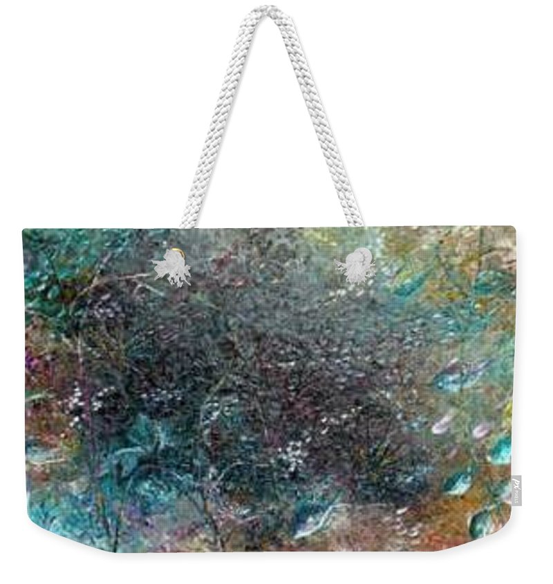 Original Abstract Painting Of Under The Sea Weekender Tote Bag featuring the painting Rainbow Reef by Karin Dawn Kelshall- Best