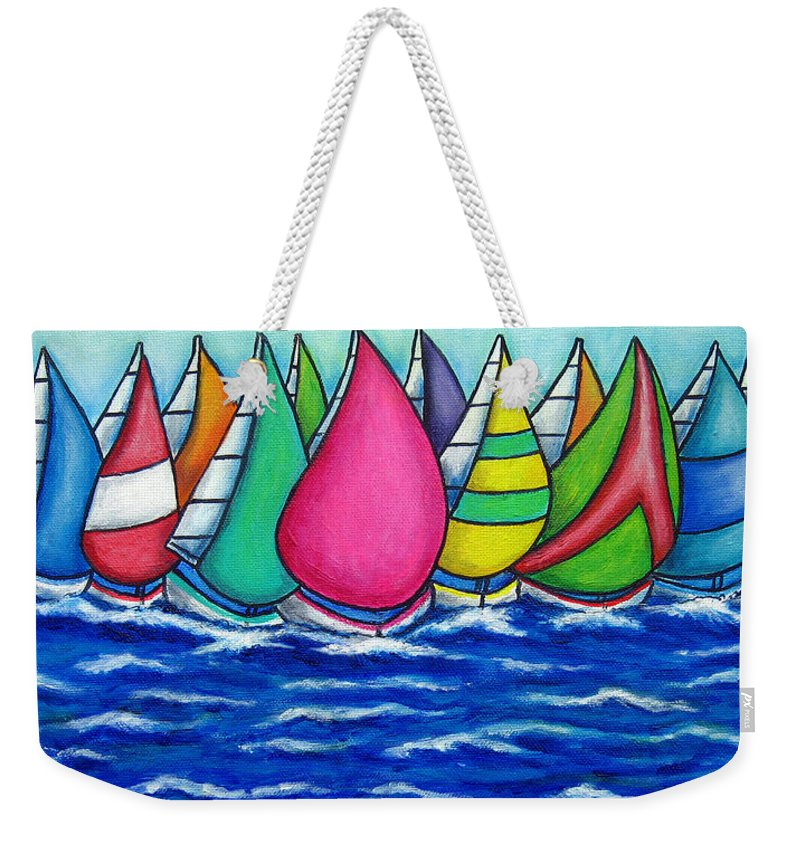 Boats Weekender Tote Bag featuring the painting Rainbow Regatta by Lisa Lorenz