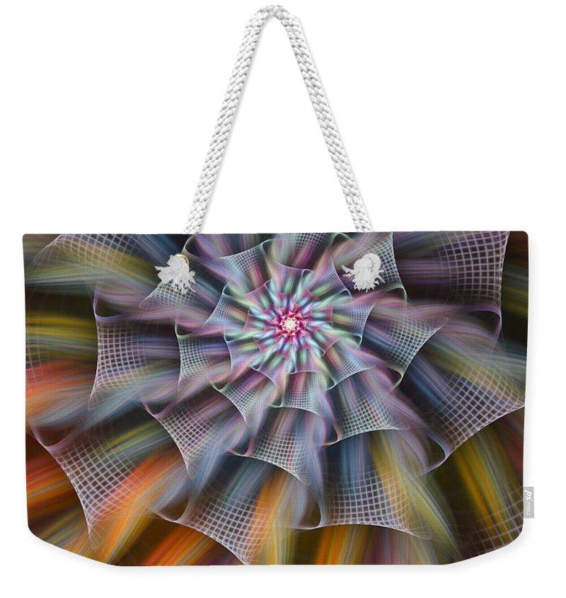 Fractal Weekender Tote Bag featuring the digital art Rainbow Ribbons by Amorina Ashton