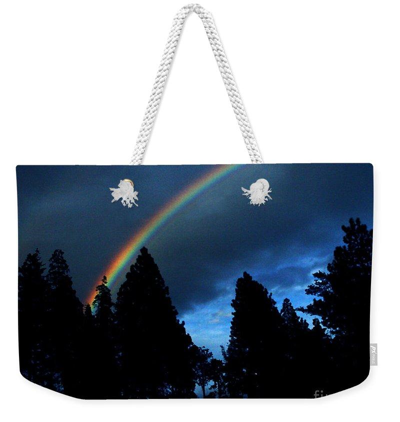 Rainbow Weekender Tote Bag featuring the photograph Rainbow Sky by Peter Piatt
