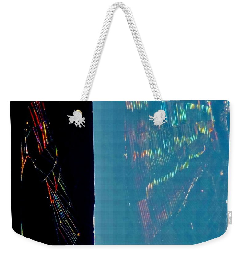 Rainbow Weekender Tote Bag featuring the photograph Rainbow Spiderweb by Martin Brockhaus
