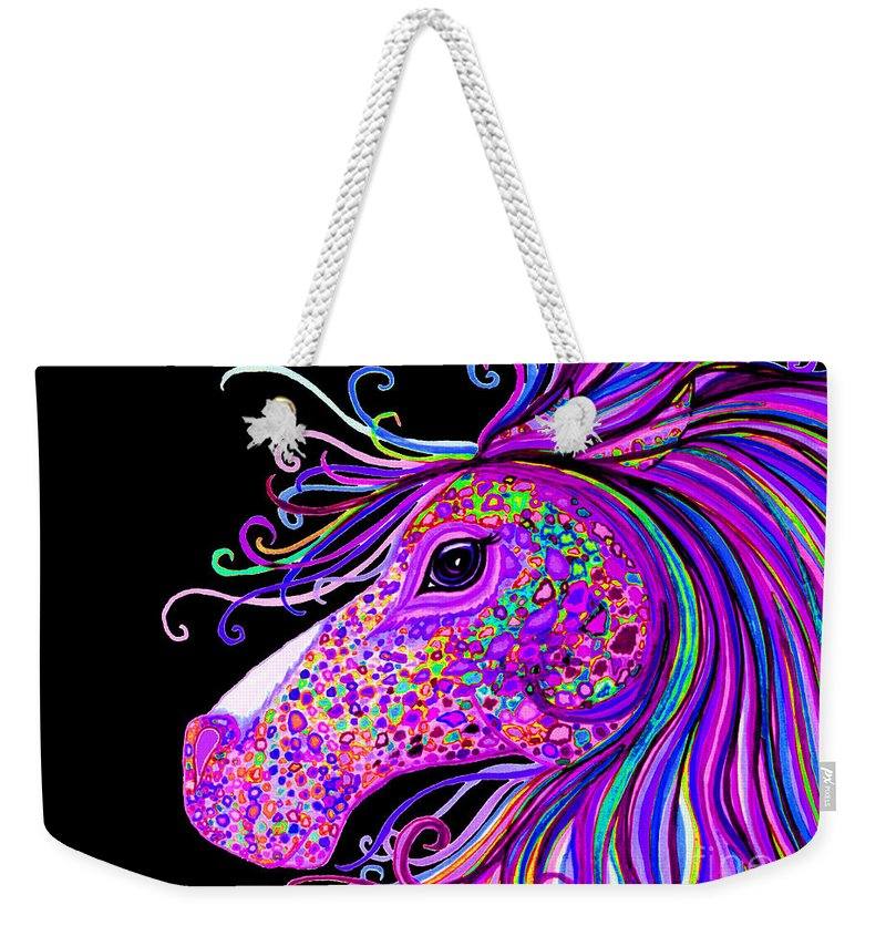 Horse Weekender Tote Bag featuring the digital art Rainbow Spotted Horse Head 2 by Nick Gustafson