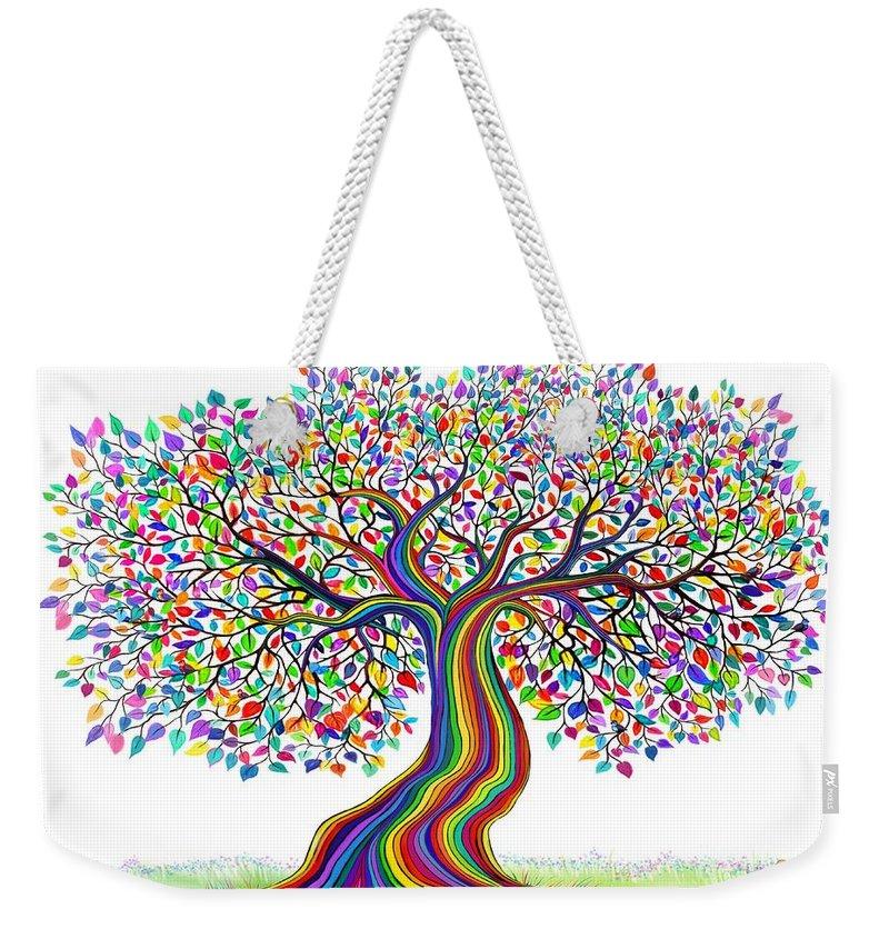 Rainbow Tree Weekender Tote Bag featuring the digital art Rainbow Tree Friends by Nick Gustafson