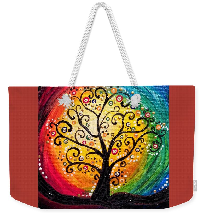 Nature Weekender Tote Bag featuring the painting Rainbow Tree by Jolie Shave