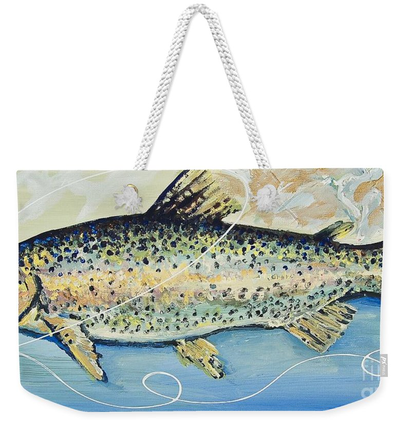 Living Room Weekender Tote Bag featuring the painting Rainbow Trout by Johnnie Stanfield