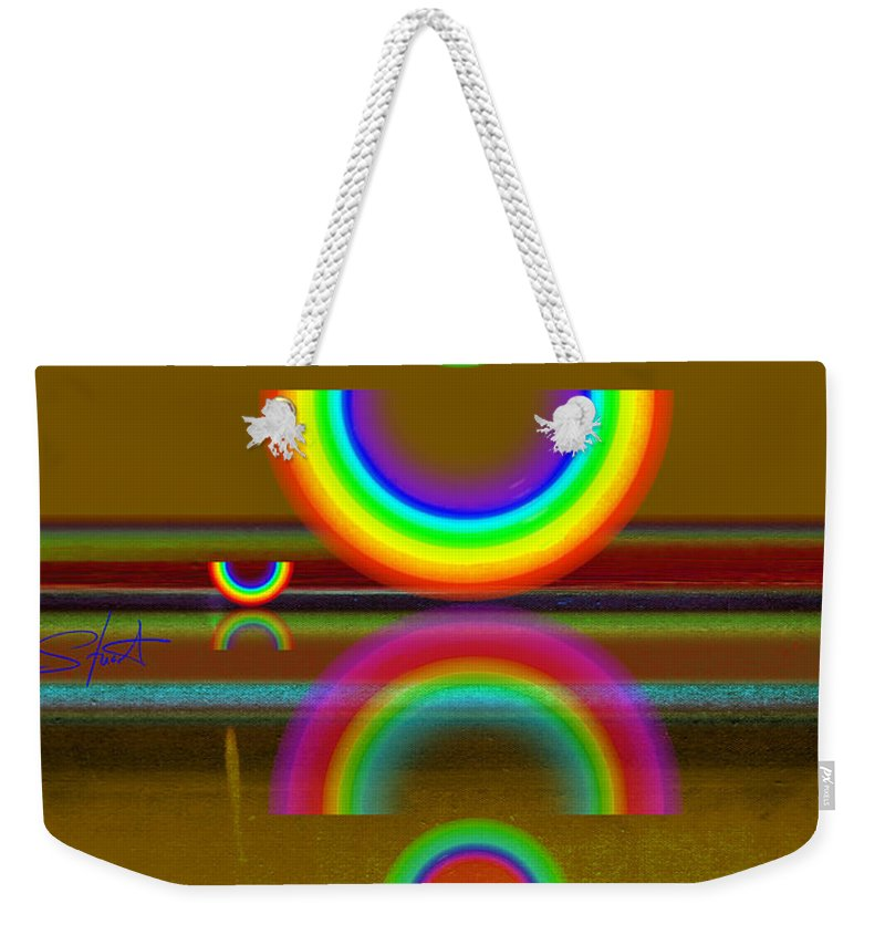 Reflections Weekender Tote Bag featuring the painting Rainbow Warrior by Charles Stuart
