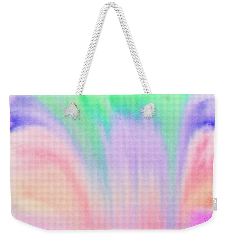 Liquid Watercolors Weekender Tote Bag featuring the painting Rainbow Waterfall by Stefanie Forck