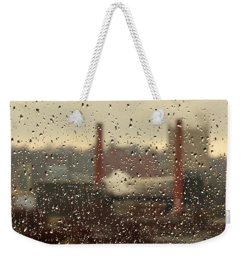Rain Weekender Tote Bag featuring the photograph Raindrops by Lisa Kane