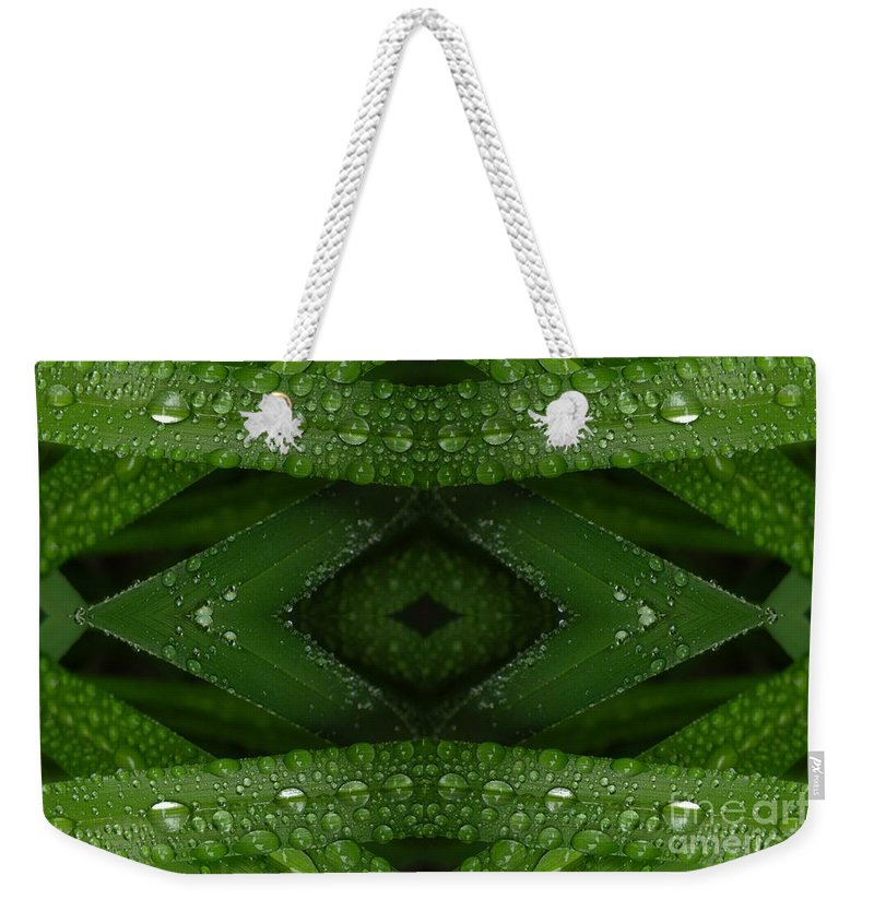 Nature Weekender Tote Bag featuring the digital art Raindrops On Green Leaves Collage by Carol Groenen