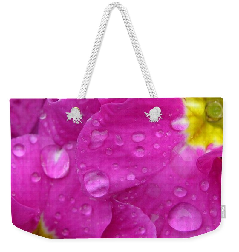Pink Weekender Tote Bag featuring the photograph Raindrops On Pink Flowers by Carol Groenen