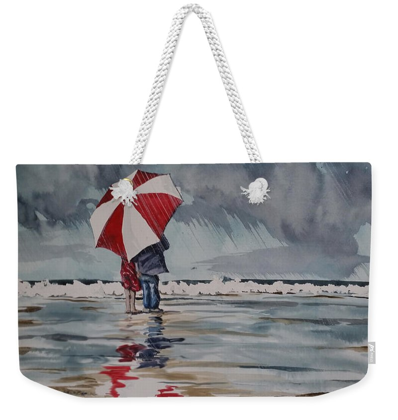 Stormy Weekender Tote Bag featuring the painting Raindrops To Seaglass by Aaron Beaty