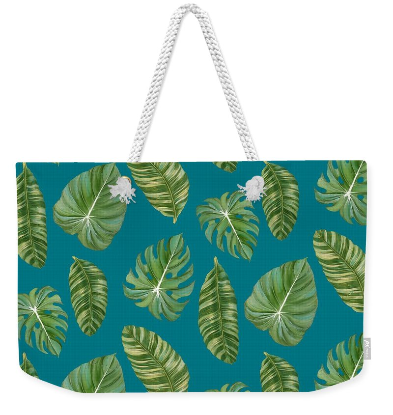 Tropical Weekender Tote Bag featuring the painting Rainforest Resort - Tropical Leaves Elephant's Ear Philodendron Banana Leaf by Audrey Jeanne Roberts