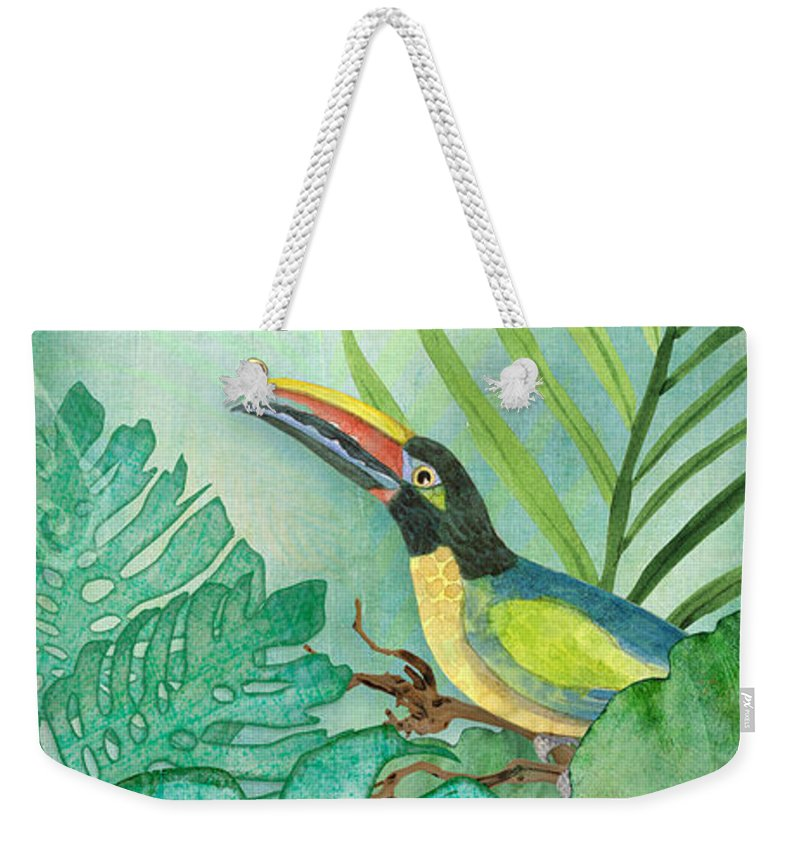 Toucan Weekender Tote Bag featuring the painting Rainforest Tropical - Tropical Toucan w Philodendron Elephant Ear and Palm Leaves by Audrey Jeanne Roberts