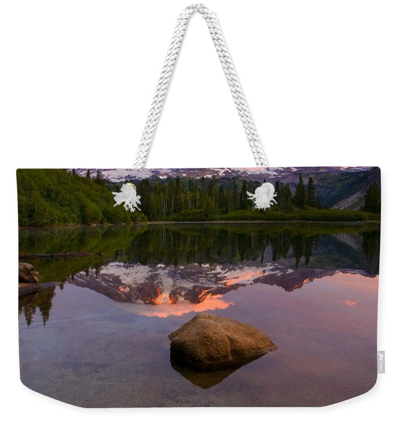 Mt. Rainier Weekender Tote Bag featuring the photograph Rainier Dawn Breaking by Mike Dawson