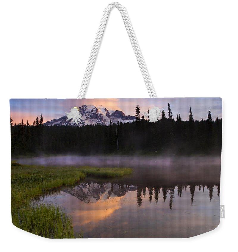 Rainier Weekender Tote Bag featuring the photograph Rainier Lenticular Sunrise by Mike Dawson