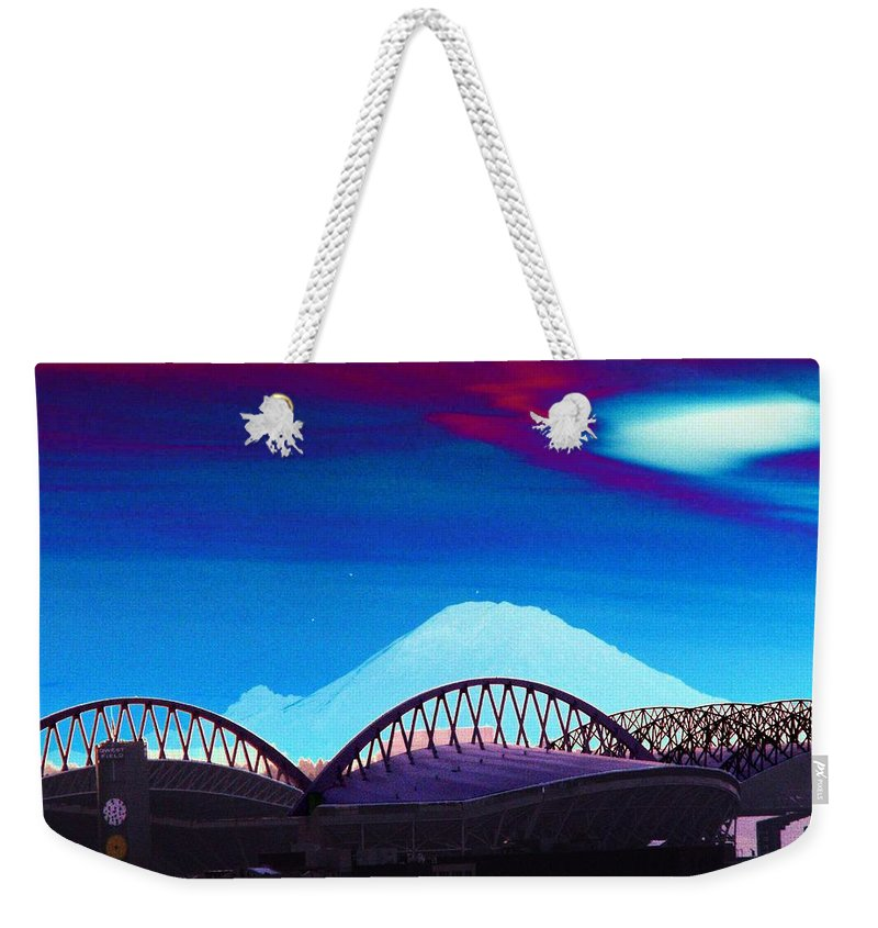 Seattle Weekender Tote Bag featuring the photograph Rainier Over Sodo by Tim Allen