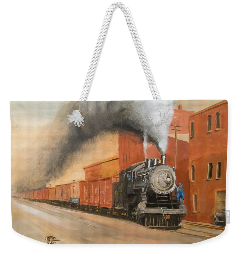 Erie Weekender Tote Bag featuring the painting Raining Cinders by Christopher Jenkins