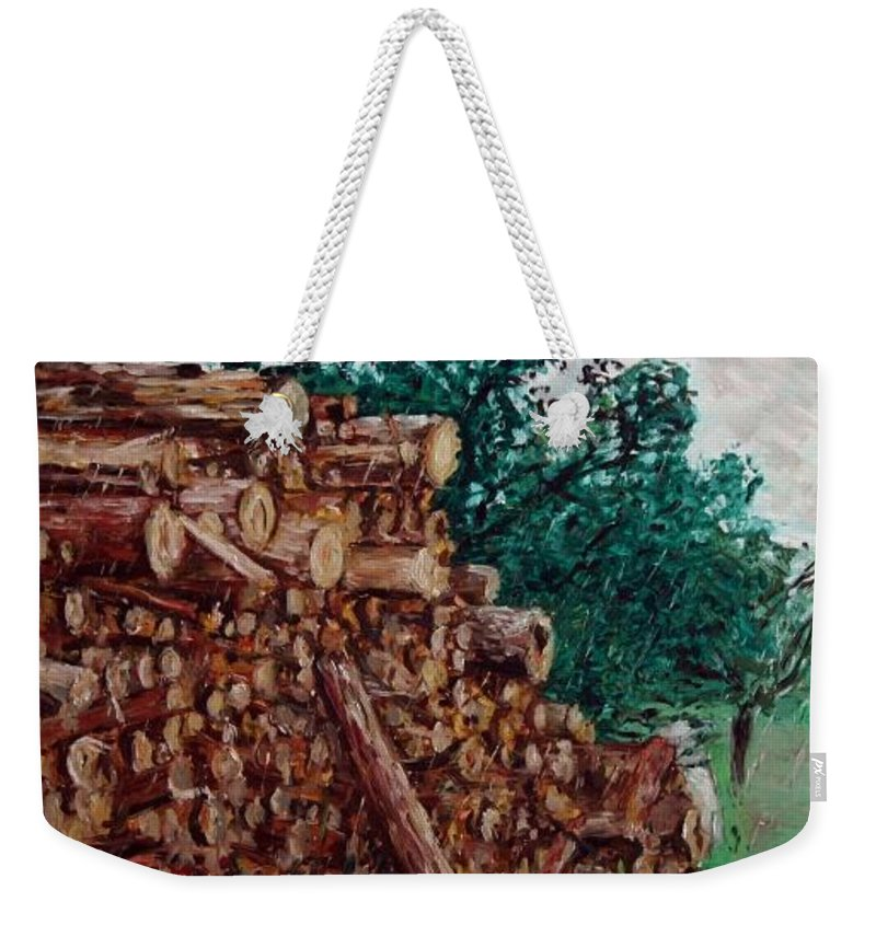 Landscape Weekender Tote Bag featuring the painting Raining Day - Woods by Pablo de Choros