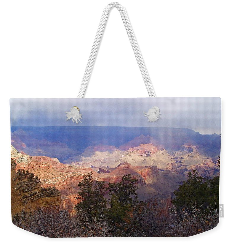 Grand Canyon Weekender Tote Bag featuring the photograph Raining In The Canyon by Marna Edwards Flavell