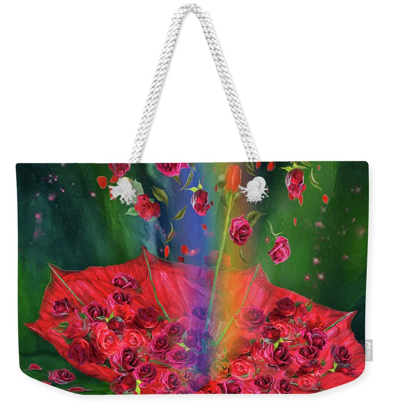 Carol Cavalaris Weekender Tote Bag featuring the mixed media Raining Roses 2 by Carol Cavalaris