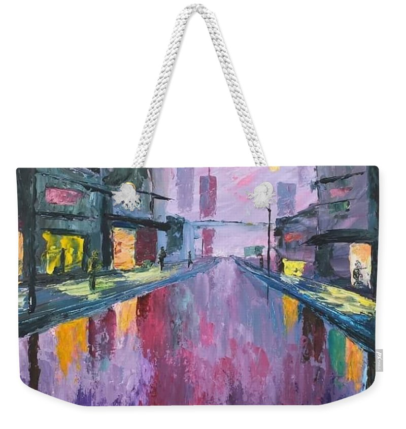 Rainy Weekender Tote Bag featuring the painting Rainy by Angel Reyes