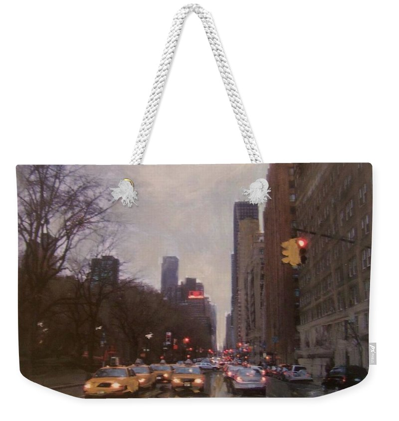 Rain Weekender Tote Bag featuring the painting Rainy City Street by Anita Burgermeister