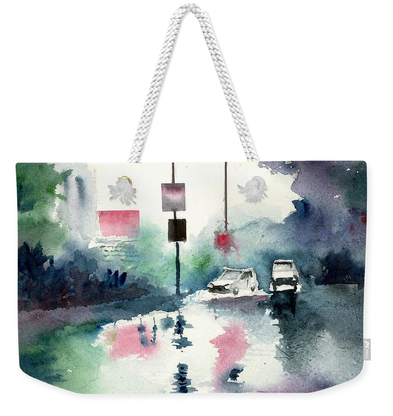Nature Weekender Tote Bag featuring the painting Rainy Day by Anil Nene