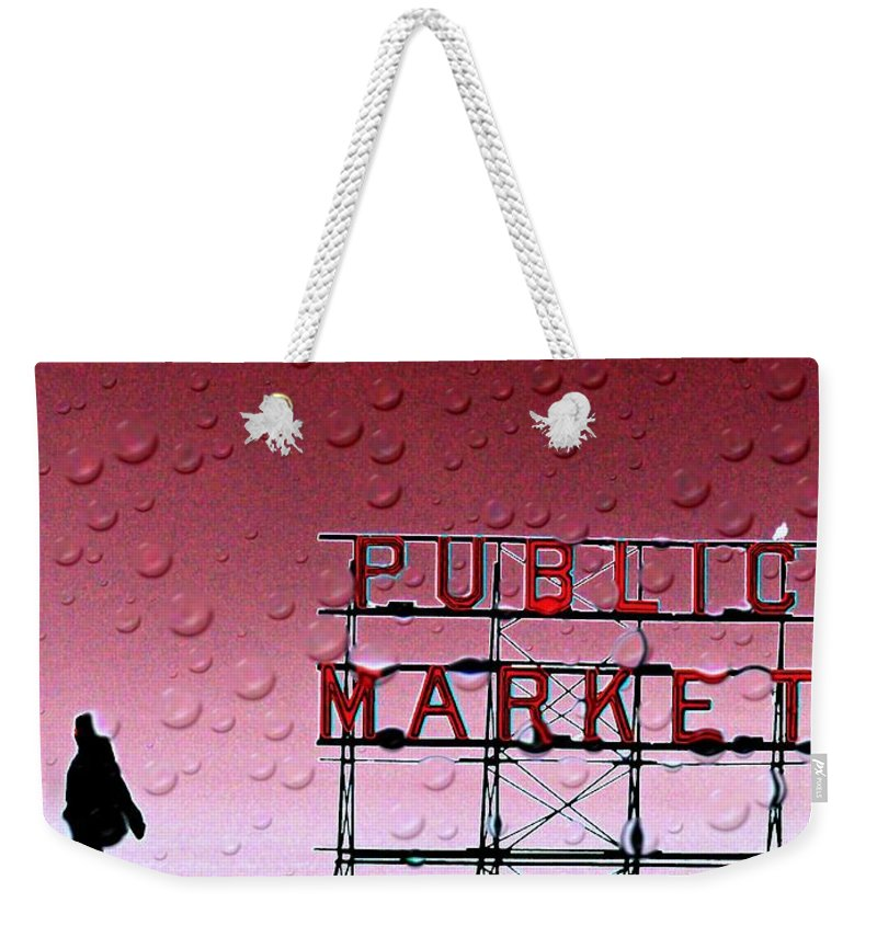 Seattle Weekender Tote Bag featuring the photograph Rainy Day At The Market by Tim Allen