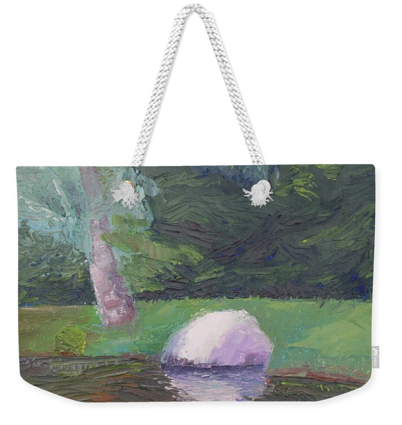 Landscape Painting Weekender Tote Bag featuring the painting Rainy Day by Lea Novak