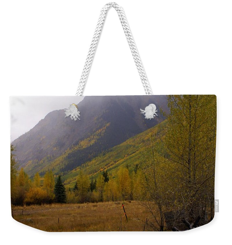 Fall Colors Weekender Tote Bag featuring the photograph Rainy Fall by Marty Koch