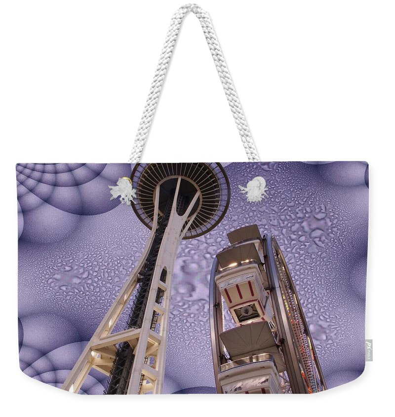 Seattle Weekender Tote Bag featuring the digital art Rainy Needle by Tim Allen