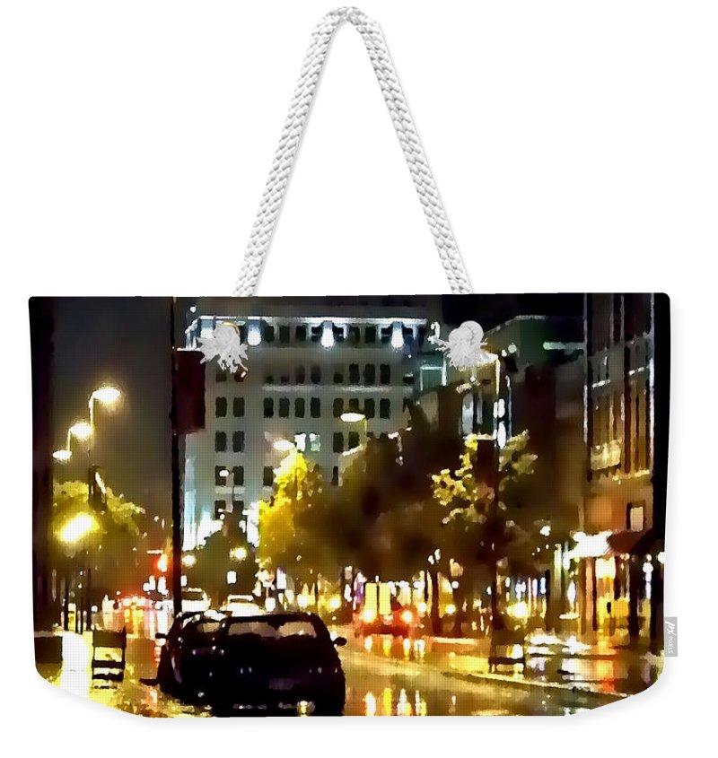 Lauren Radke Weekender Tote Bag featuring the photograph Rainy Night In Green Bay by Lauren Radke