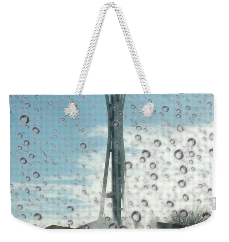 Seattle Weekender Tote Bag featuring the photograph Rainy Window Needle by Tim Allen