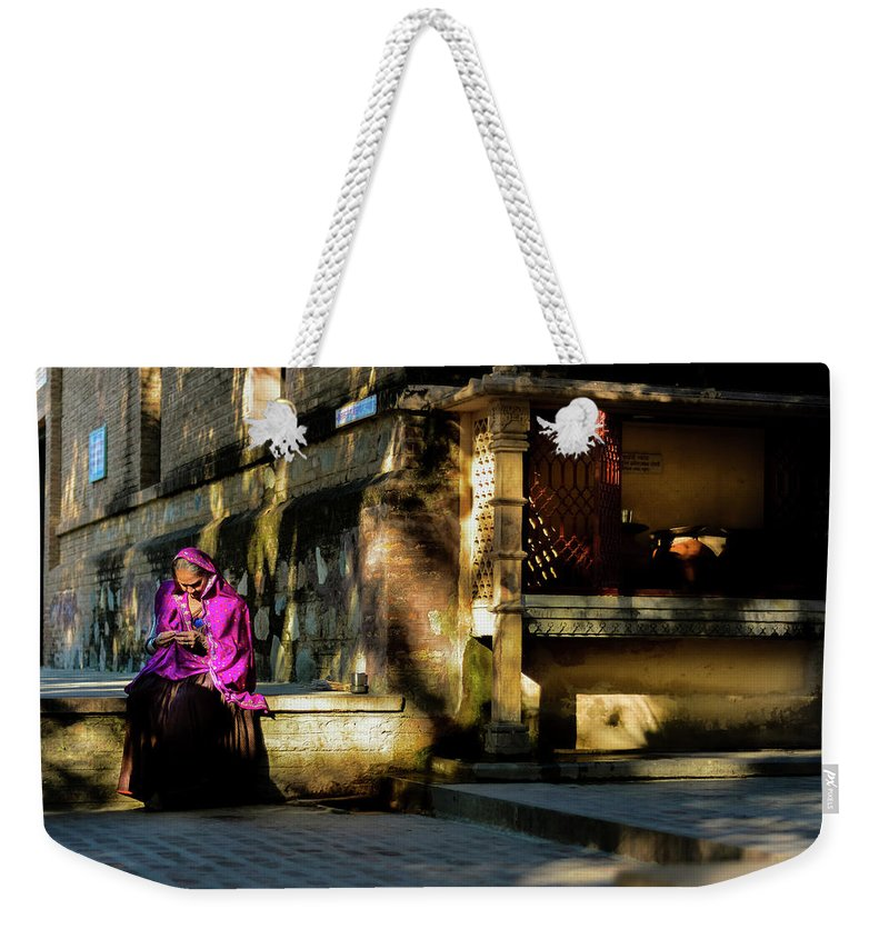 Rajasthan Ranakpur Stories Oldwoman Culture Tradition People Folk History Colorful Vibrant Architecture Weekender Tote Bag featuring the photograph Rajasthan Stories by Madan Suthar