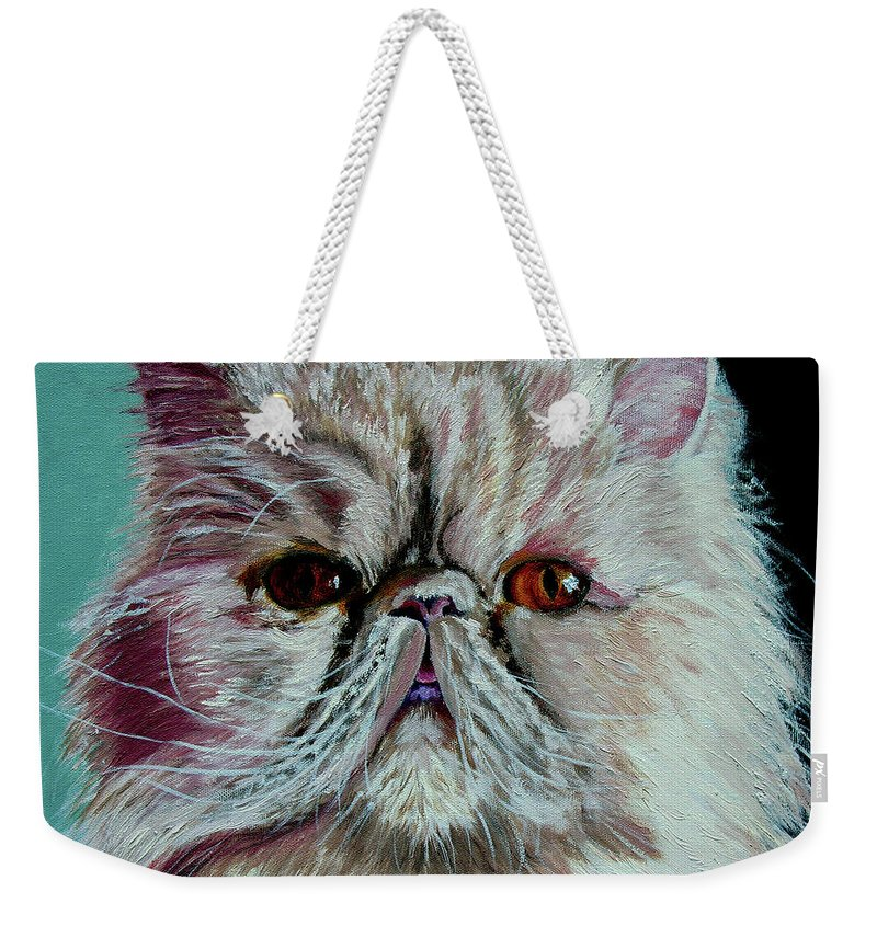 Cat Portrait Weekender Tote Bag featuring the painting Ralph by Stan Hamilton