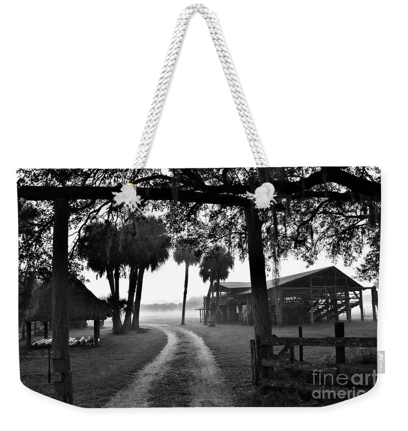 Ranch Life Weekender Tote Bag featuring the photograph Ranch Life Bw by Lisa Renee Ludlum