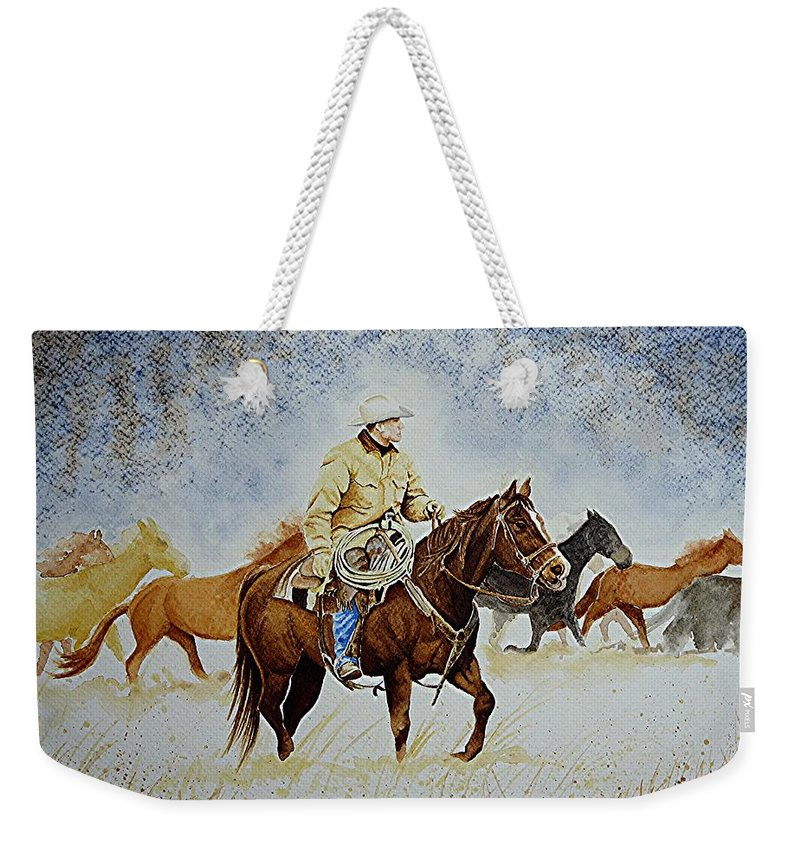 Art Weekender Tote Bag featuring the painting Ranch Rider by Jimmy Smith