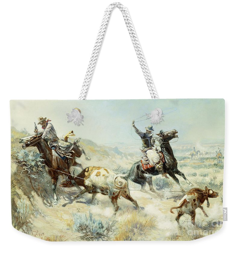 Rancher Weekender Tote Bag featuring the painting Range Mother by Charles Marion Russell