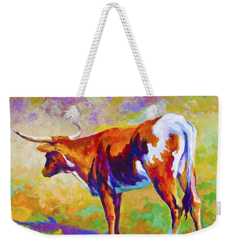 Longhorn Weekender Tote Bag featuring the painting Range Rover II - Texas Longhorn by Marion Rose