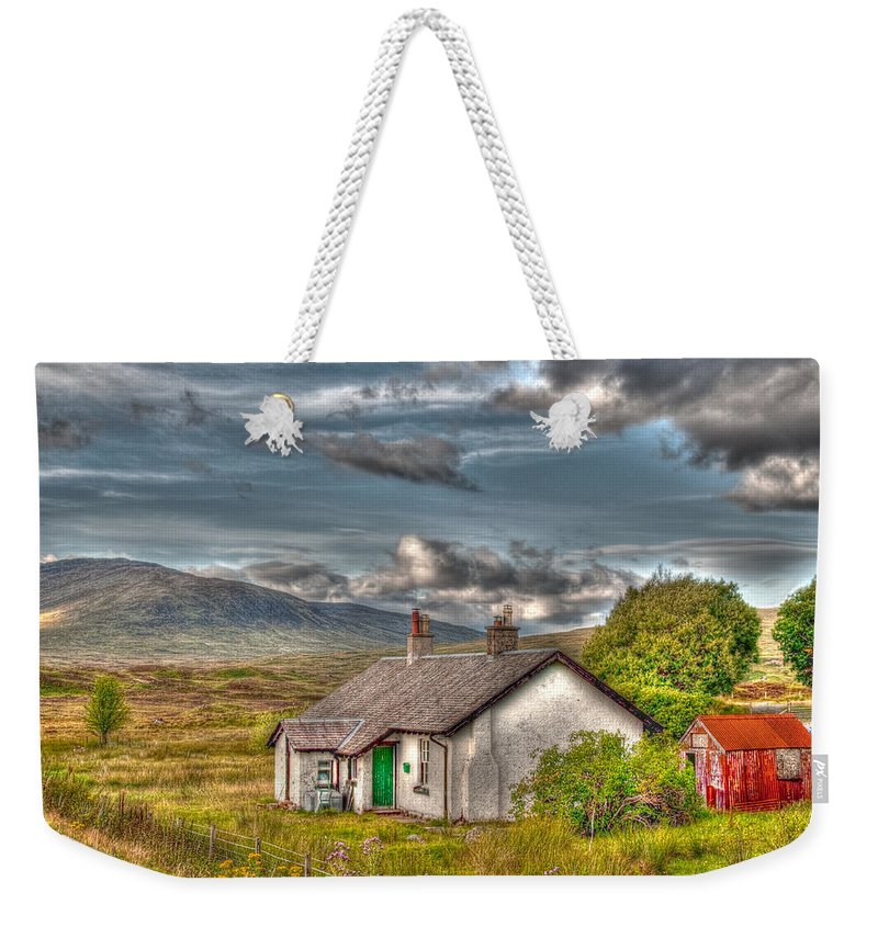 Rannoch Weekender Tote Bag featuring the photograph Rannoch Railway Station View by Chris Thaxter