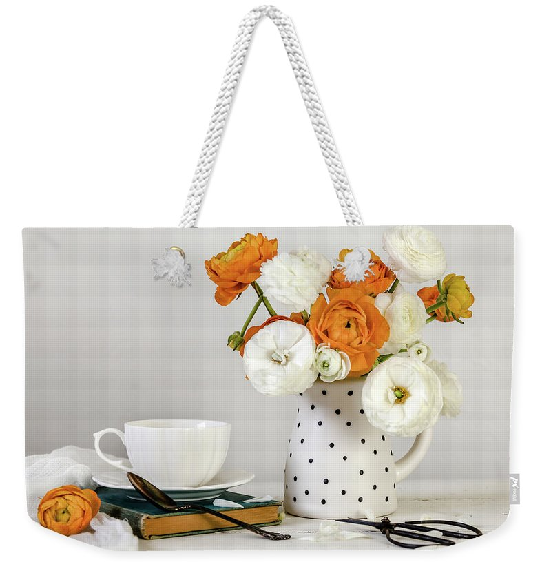 Buttercup Weekender Tote Bag featuring the photograph Ranunculus Bouquet by Kim Hojnacki