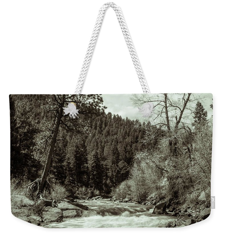 Artisans Weekender Tote Bag featuring the photograph Rapids During Spring Flow On The South Platte River by Cary Leppert
