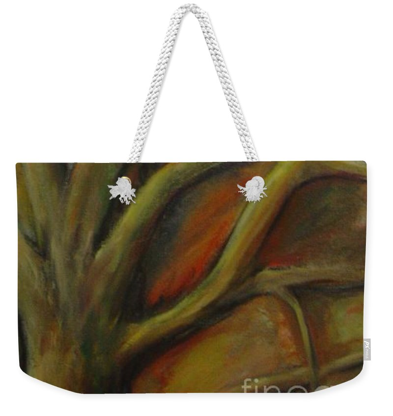 Tree Abstract Painting Expressionist Original Leila Atkinson Weekender Tote Bag featuring the painting Rapt by Leila Atkinson