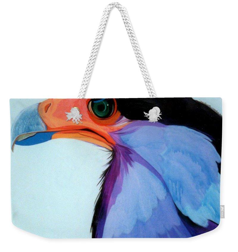Raptor Weekender Tote Bag featuring the painting Raptor 5 by Marlene Burns