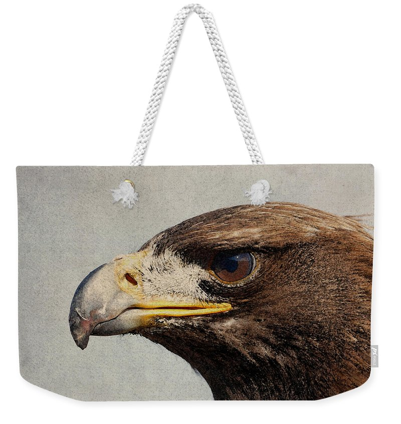Raptor Weekender Tote Bag featuring the mixed media Raptor Wild Bird Of Prey Portrait Closeup by Design Turnpike