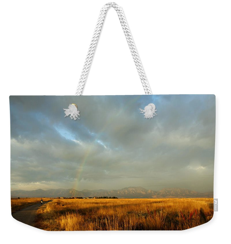 Rain Weekender Tote Bag featuring the photograph rare Morning Rainbow by Marilyn Hunt