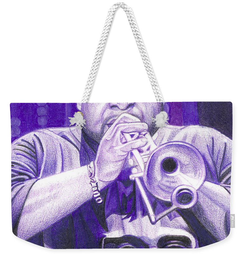 Rashawn Ross Weekender Tote Bag featuring the drawing Rashawn Ross by Joshua Morton