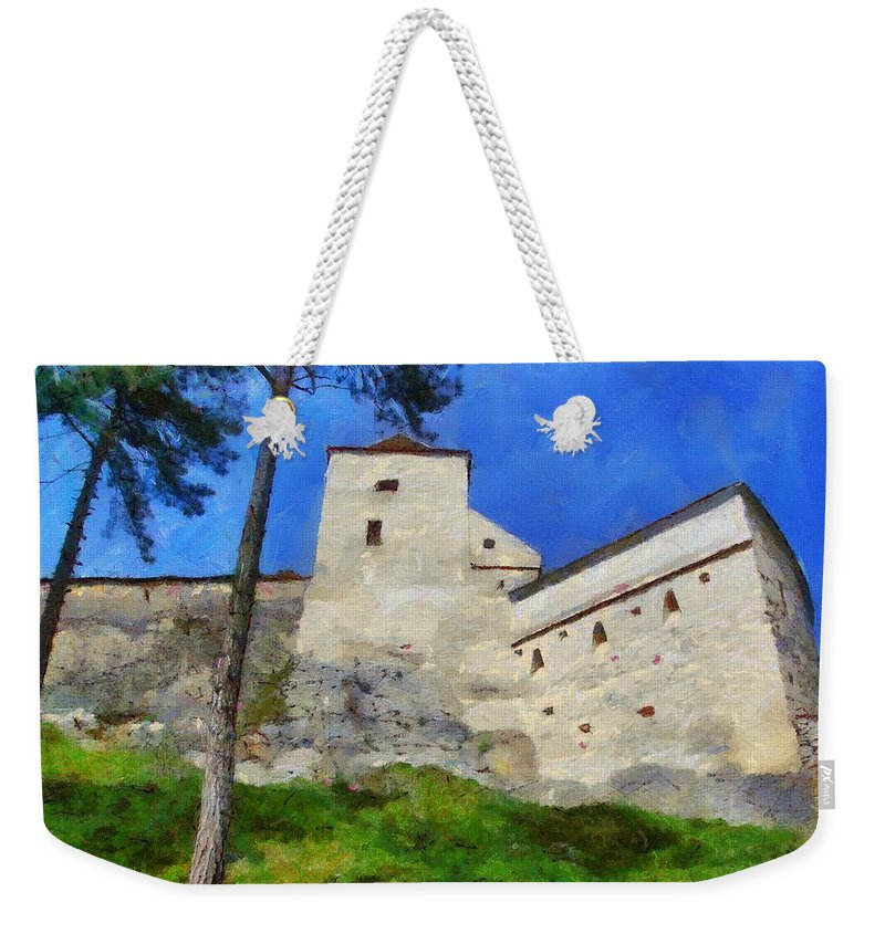 Fortress Weekender Tote Bag featuring the painting Rasnov Fortress by Jeffrey Kolker